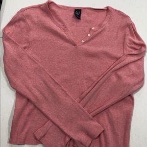 Tops - GAP Pink Ribbed Long Sleeve